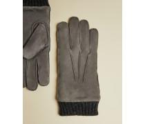 Handschuhe aus Veloursleder mit Bündchen