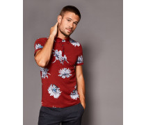 Baumwoll-Polohemd mit Floralem Print