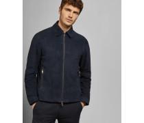 Veloursleder-Jacke mit Zip-Verschluss