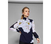 Hochgeschlossene Bluse Mit Gardenia-print