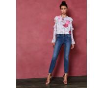 Ungesäumte Skinny-Jeans in Mittlerer Waschung