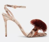 Bedruckte Sandalen mit Pompon