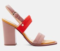 Leder-Sandalen mit Blockabsatz