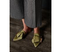 Fersenfreie Satin-Loafer mit Zierschleife