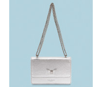Bow Detail Metallic Leather Micro Bag
