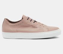 Leder-Sneaker mit Sohle in Kontrast-Optik