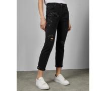 Boyfriend-Jeans mit Paillettenverzierung
