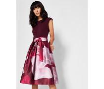 Kleid mit Weitem Rock und Porcelain Rose-Print