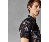 Kurzärmliges Baumwollhemd mit Schlangen-Print