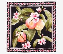 Quadratischer Seidenschal mit Peach Blossom-Print