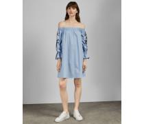 Besticktes Bardot-Kleid aus Baumwolle