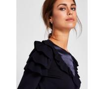 Satin-Sweater mit Rüschen und Kontrastborte