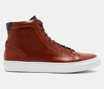 Leder-sneakers Mit Brogue-details Und Hohem Schaft