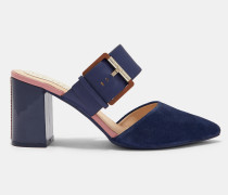 Mule-Sandalen aus Veloursleder mit Blockabsatz