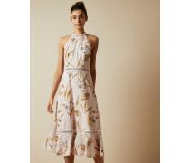 Neckholder-Kleid mit Cabana-Print und Lochstickerei