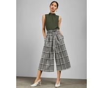 Karierte Culotte mit Paperbag-Taille