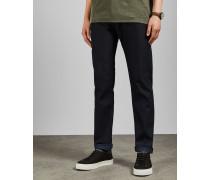 Dunkelblaue Straight Fit-Jeans
