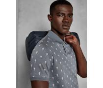 Polohemd aus Baumwoll-Jacquard mit Palmen-Print