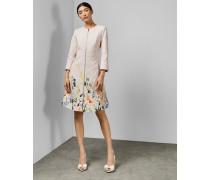 Strukturiertes Mantelkleid mit Elegant-Print