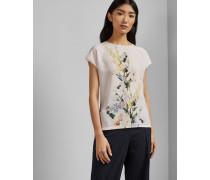 T-Shirt mit Gewebter Front und Elegant-Print
