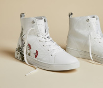 High-Top-Sneakers aus Leder mit Highland-Print
