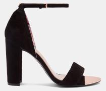 Hohe Sandalen aus Veloursleder mit Knöchelriemen