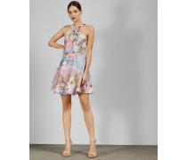 Skater-Kleid mit Knoten und Mint Choc Chip-Print