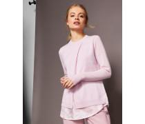 Pullover mit Hemden-Effekt aus Seide und Kaschmir