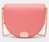 Halbmondförmige Leder-Tasche mit Faltschließe