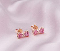 Ohrringe mit Rotgold, Rosa Turmalin und Diamantschleife