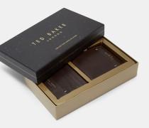 Geschenkset aus Leder-Portemonnaie und Kartenetui