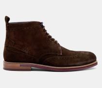 Veloursleder-Ankle Boots im Brogue-Stil