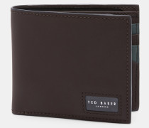 Gummiertes Portemonnaie mit Kontrastnähten