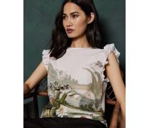 Gewebtes T-Shirt mit Rüschen