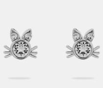 Katzen-Ohrringe mit Kristallbesatz