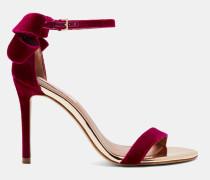 Sandalen aus Samt mit Statement-Schleife