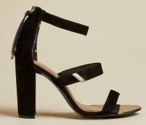 Sandalen aus Veloursleder mit Blockabsatz