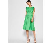 Midi-Kleid in A-Linie mit Gerüschtem Latzkragen