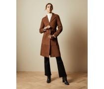 Mantel aus Veloursleder mit Bindegürtel