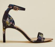 Leather Floral Stiletto Sandals