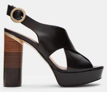 Überkreuzte Leder-sandalen Mit Blockabsatz