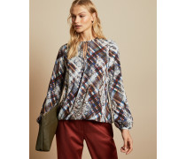 Bluse mit Bindedetail Am Kragen und Quartz-Print