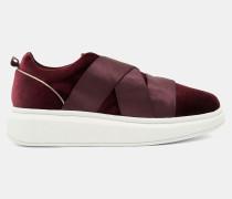 Samt-Sneakers mit Plateau-Sohle und Elastikriemen