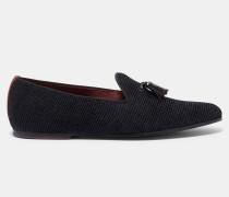 Geflockte Loafer mit Zierquaste