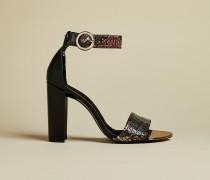 Hohe Sandalen aus Leder mit Schlangeneffekt