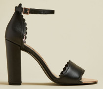 Scallop Detail Leather Sandals