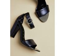Sandalen mit Absatz in Metallic-Optik