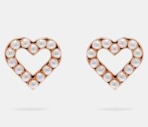 Perlenohrringe in Herzform