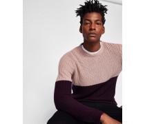 Rippstrick-Pullover in Blockfarben