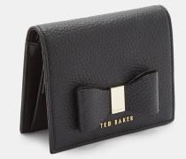 Leder-Portemonnaie mit Zierschleife und Druckknopf
